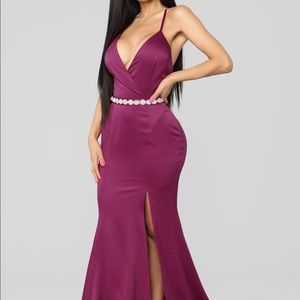 """""""Leave with a bang satin gown- berry"""" dress"""